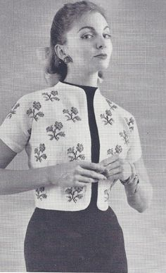Vintage Bolero Shortie Jacket with Flowers Knitting Pattern