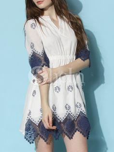 White Half Sleeve Vintage Print With Lace Dress
