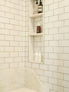 Built-in shelves in shower