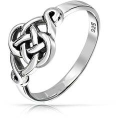 Bling Jewelry Love The Knot Ring ($21) ❤ liked on Polyvore featuring jewelry, rings, grey, celtic jewellery, celtic knot ring, celtic jewelry, celtic love knot jewelry and sterling silver rings
