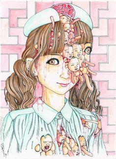 weird Arte Horror, Horror Art, Japanese Illustration, Illustration Art, Ero Guro, Arte Obscura, Creepy Art, Alien Art, Amazing Drawings