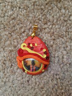 Dragon Eye Pendant - Orange, Red, Yellow by TNTPatterns on Etsy