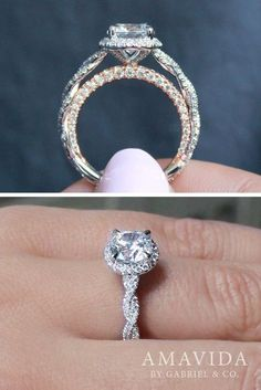 18k White Gold/Rose Gold Round Halo Engagement Ring #DazzlingDiamondEngagementRings