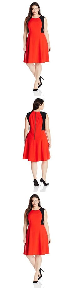 Nine West Women's Plus-Size Colorblock Fit and Flare Dress, Poppy Red/Black, 20W