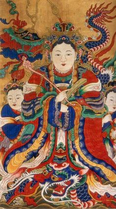 Female Dragon Monarch (용여왕) - usually the Dragon King is depicted as male, but less frequently as a female, as in this painting Taoism, Buddhism, Korean Art, Asian Art, Korean Traditional, Traditional Art, Korean Dragon, Shaman Ritual, Chinese Drawings
