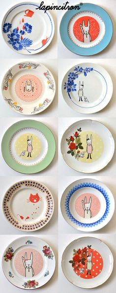 Assiettes vintage réémaillées Lapincitron Painted Plates, Hand Painted Ceramics, Ceramic Plates, Ceramic Pottery, Decorative Plates, Pottery Painting, Ceramic Painting, Ceramic Art, Toy Kitchen