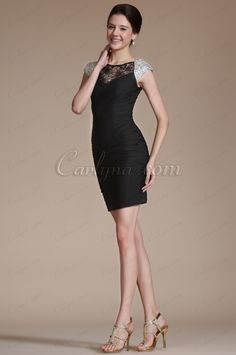 Carlyna 2014 New Beaded Cap Sleeves Cocktail Dress