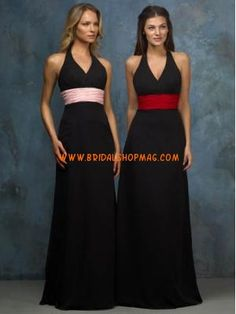 Halter Sash Chiffon Black Bridesmaid Dresses  I would choose the one with the red sash...then...I think...the maid of honor would wear those colors reversed. Except...I don't know...if she should have a black or white sash...because the black sash would clash with my imaginary white-and-red wedding gown. Did I mention I'm single?