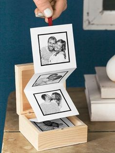 Pull out photo album - small wooden box with cardstock and pictures. Super easy to make.