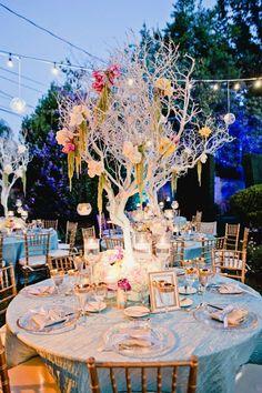 Silver Manzanita centerpieces | Luna Gardens Events