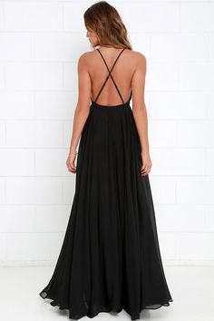 The Mythical Kind of Love Black Maxi Dress is simply irresistible in every single way! Lightweight Georgette forms a fitted bodice with princess seams and an apron neckline supported by adjustable spaghetti straps that crisscross atop a sultry open back. A billowing maxi skirt cascades from an elasticized waistline into an elegant finale, perfect for any special occasion! Hidden back zipper with clasp. As Seen On Julia of @juliafriedmann!