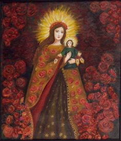Rosas para la Flor del Carmelo y el Niño Dios by Alejandrina Uribe-Betancourt. mixta acrílico s/lienzo