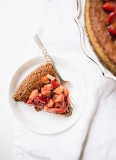 Almond Cake with Strawberry + Rhubarb | Cookie + Kate