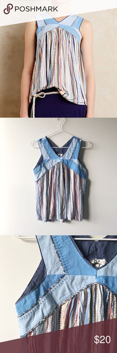 Anthropologie tank top Sold at Anthropologie and made by One September, this soft and flowing tank top is so lovely and versatile! Size XS and in very good condition. Anthropologie Tops Tank Tops