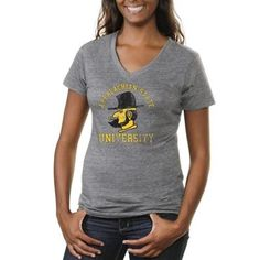 Appalachian State Mountaineers Ladies Vintage Arch 'n Logo Tri-Blend V-Neck T-Shirt - Ash