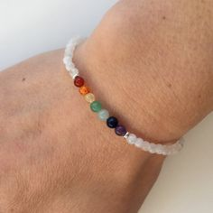 Rainbow Rainbow Moonstone bracelet, gift for her, girlfriend, sister, best friend, pride, rainbow bracelet, semi precious stone with silver