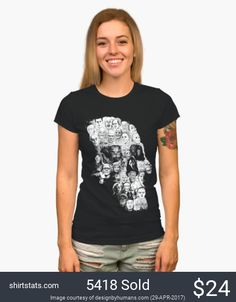 If you love horror movies, you'll love this tee! This mosaic in the shape of a skull gathers 39 of some of the most iconic villains and monsters of cinema!