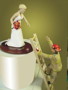 Funny Fireman Wedding Cake Toppers | Cute Wedding Cake Toppers on Wedding Cakes Fireman Topper 225x300