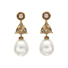 Estate Donna Vock South Sea Pearl, Beryl & Diamond Drop Earrings