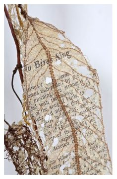 'Fauxliage, No Birds Sing' 2011 (thread, wire, page fragments from Silent Spring, Rachel Carson 1962) by Lisa Kokin.