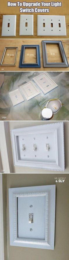 Inexpensive craft store frames fit perfectly around light switch covers! --I like the LOOK Expensive (but not really BE expensive! -- 31 Easy DIY Upgrades That Will Make Your Home Look More Expensive-- Weekend Projects, Home Projects, Craft Projects, Diy Casa, Ideias Diy, Do It Yourself Crafts, Light Switch Covers, Switch Plate Covers, Light Switch Plates