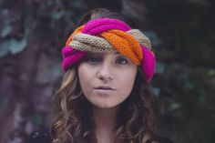 Tricolor Braid Knitted Headwarmer