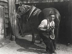 A Blacksmith – Shoeing a horse, this was taken c.1920 but the art of blacksmithing hadn't changed for many years.