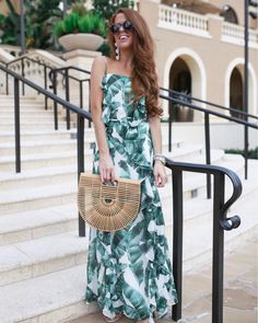 A gorgeous palm print maxi at the Four Seasons Orlando. Printed Jumpsuit, Palm Print, Leaf Prints, Stuart Weitzman, Jimmy Choo, What To Wear, Strapless Dress, Dress Up, Necklaces