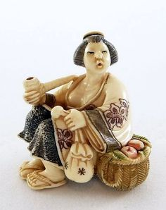 Mammoth Ivory Netsuke - Japanese Lady Smoking a Pipe