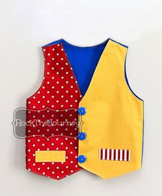 Traditional Circus Clown Vest - Carnival Ringmaster Lion Tamer Tuxedo Vest - Birthday Party Shirt - Boy Costume - Red Yellow Royal Blue
