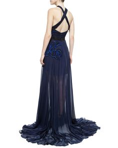 Pamella Roland Sleeveless Twist-Front Embellished Gown, Navy