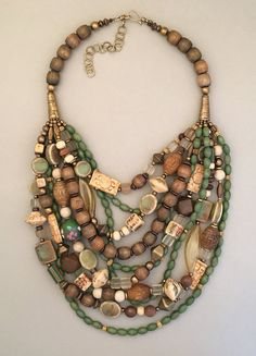Multi-Beads and Brass Necklace