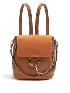 CHLOÉ  Faye small suede and leather backpack $1,990