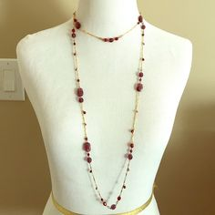 Necklace Gold double layer necklace with plum and burgundy beading Jewelry Necklaces