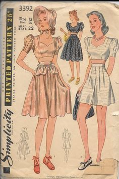 19b6783c717 Vintage 1940s Simplicity 3392 Midriff Top And Skirt Or Shorts Skort 2-Pc  Dress Sewing Pattern Size 12 Bust 30