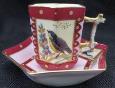 Oscar Gutherz Limoges Demitasse Cup & Saucer with Bird Motif and Gold Gilt