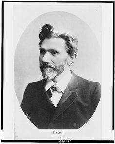 [August Bebel, head-and-shoulders portrait, facing left, in oval]