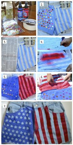 diy stars and stripes. Now I just need a good fitting pair of jean shorts...(impossible).