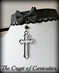 Gothic black lace and satin cross choker.  https://www.etsy.com/shop/TheCryptOfCuriositie