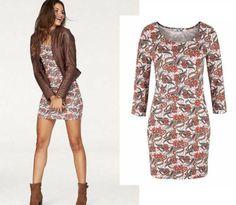 schönes mini Kleid Muster koralle weiß Gr.38 M Strandkleid Sommerkleid Jersey