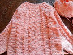 . Девчачий свитерок с крючковыми косами