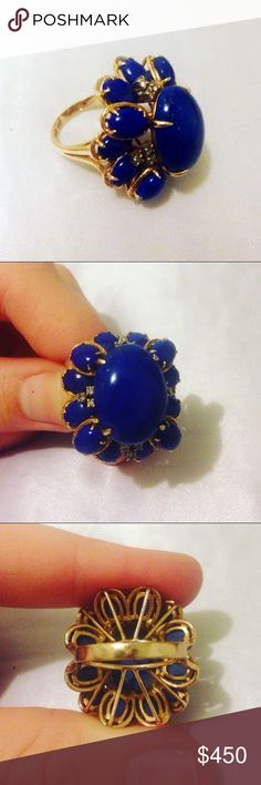 14K Lapis & Diamond Cocktail Ring 14K Yellow Gold, Size 5.This ring would be a beautiful gift to that person in your life who appreciates a good vintage find 👌 Inspected by Bay Area's Gold & Silver Buyers Vintage Jewelry Rings
