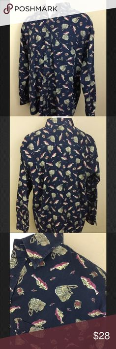 5d5d3a5cf113eb Vintage men s fishing print button down shirt xl Vintage Old School fishing  printed long sleeve button down with baskets