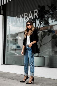 Pam Hetlinger wearing One Teaspoon Embroidered Jeans, Asos Lace-up Heels, Madewell Velvet Blazer, Choker, Black Friday Sales   The Girl From Panama
