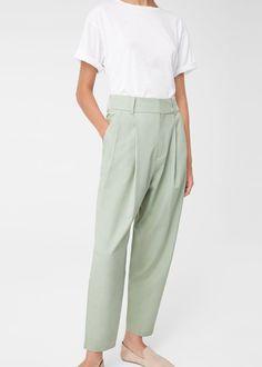 30  Pantalón traje algodón - Pantalones de Mujer | MANGO España