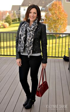 Fashion Over 40: classy date night outfit | cotton coated moto jacket, animal print scarf, ponte knit pants and booties | get more outfit ideas for women in this post...