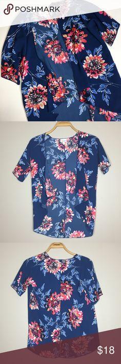 Lularoe Bianka Kimono - Floral Kimono - Size 2 Like new Girl's size 2 Lularoe Bianka Kimono. Navy blue with floral print. LuLaRoe Shirts & Tops