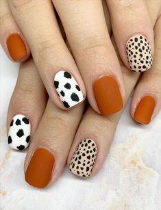 Fall Acrylic Nails, Acrylic Nail Designs, Fall Nail Designs, Cheetah Nail Designs, Shellac Nail Designs, Fall Gel Nails, Fall Manicure, Pink Manicure, Short Nail Designs