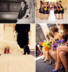 Love the different colored bouquets!