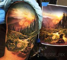 Mountain Sunset Tattoo
